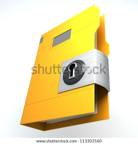 illustration of 3d image of locked folder against white