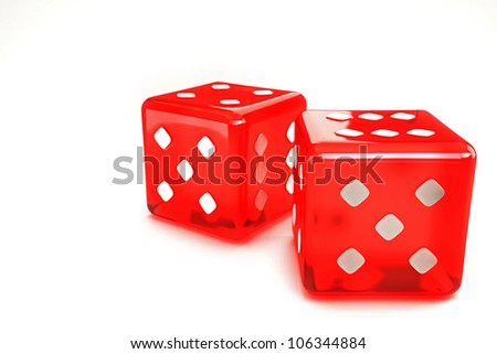 illustration of 3d image of pair of dice against white background - stock photo