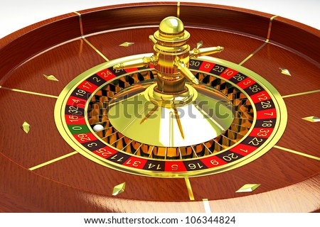 illustration of 3d image of roulette with white ball - stock photo