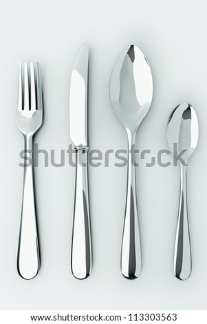illustration of 3d image of stainless steel cutlery set