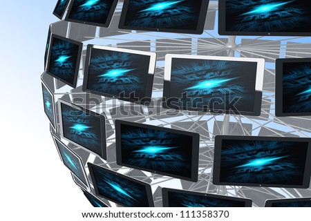 illustration of 3d image of television monitor around the globe - stock photo