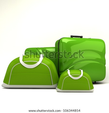 illustration of 3d image of travel bag and luggage - stock photo