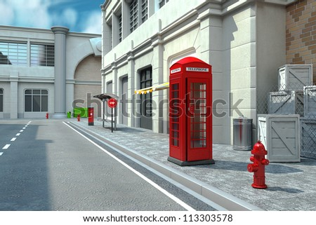 illustration of 3d render of telephone booth in city street - stock photo
