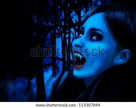 Illustration of 3d rendered vampire girl in dark forest. - stock photo