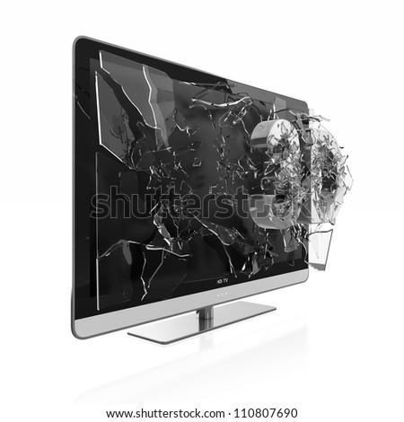 Illustration of 3D text breaking TV screen. Stereoscopic TV. - stock photo