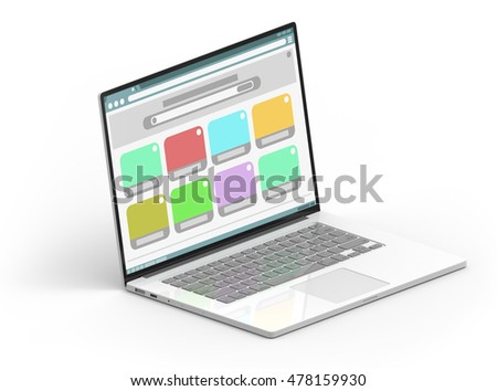 Illustration of 3D white isometric laptop with color window frames inside