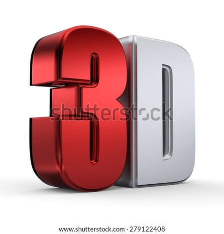 illustration of 3D word written in red and silver color - stock photo