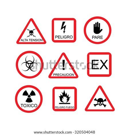 Illustration of danger sign, risk, dangerous situation,  warning sign, spanish text - stock photo