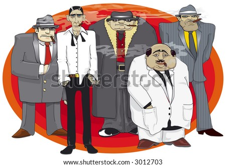 Illustration of dangerous mafia group with cigars - stock photo