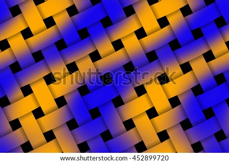 Illustration of dark blue and orange weaved pattern - stock photo