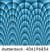 Illustration of dark monochromatic blue abstract checkered texture with many twirled shapes with checkered pattern of repeating glowing boxes or blocks - stock photo