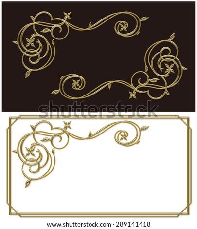 Illustration of decoration curve./ Golden frame. - stock photo