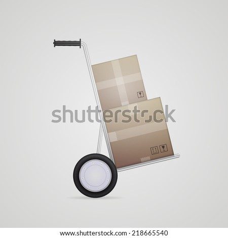 Illustration of delivery hand truck. Gray metallic hand truck with two cardboard boxes a side view. Isolated illustration on gray. - stock photo