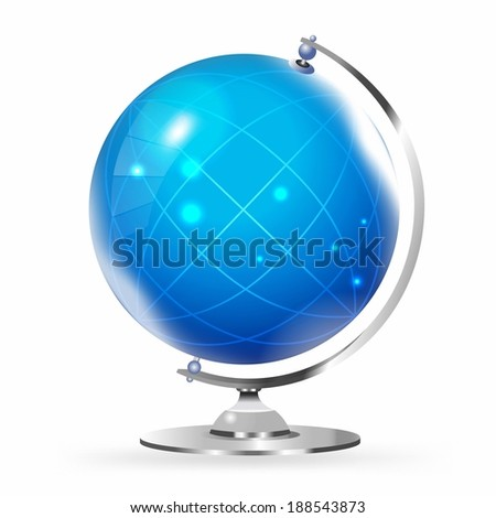 Illustration of desktop globe against white background