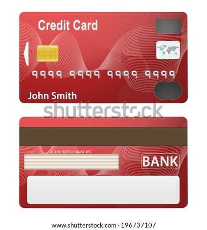 Illustration of detailed beautiful simple credit card. Two side. Isolated on white background