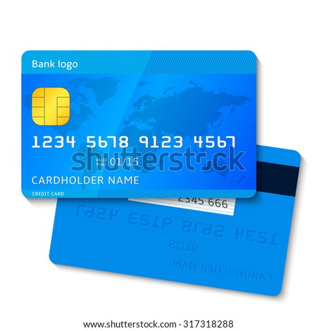 Illustration of detailed blue credit card isolated on white background. Raster version of my  illustration