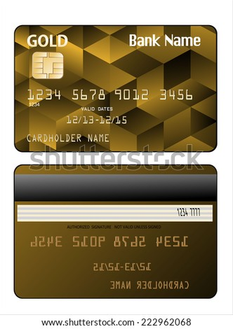 illustration of detailed credit card isolated on white background - stock photo