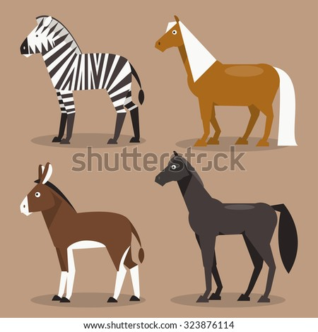 Illustration of different breeds of horses, zebras, ponies and a donkey - stock photo