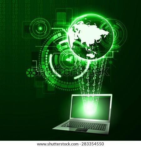 illustration of digital binary data protection against burglary - stock photo