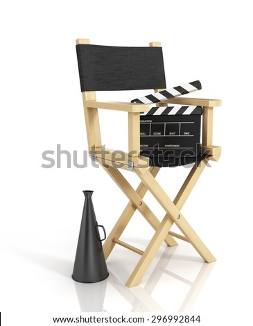 Illustration of director chair, and over filmmaker equipment, over white background. - stock photo