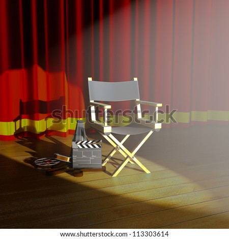 illustration of director's chair with clap board on stage - stock photo