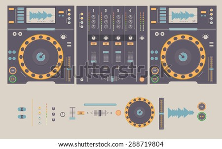 Illustration of dj mixing decks and elements, including knobs, headphones,faders,crossfader,play and cue buttons,pitch, and dj mixer - stock photo
