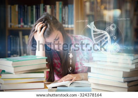Illustration of DNA against focused student surrounded by books - stock photo
