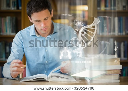 Illustration of DNA against serious mature student studying at library desk - stock photo
