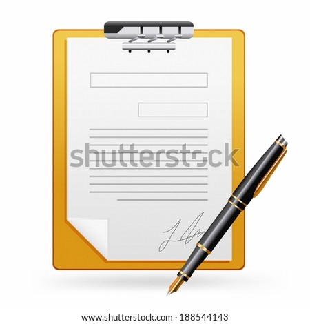 Illustration of document paper and fountain pen