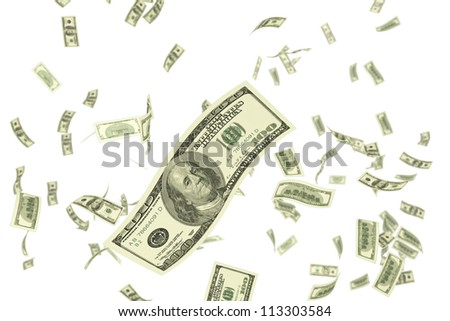 illustration of dollar falling against white background - stock photo