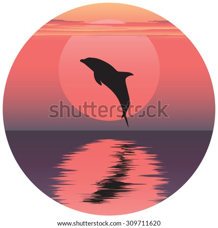 illustration of dolphin. Jumping dolphin. Dolphin at sunset. Dolphin at sunrise. Dolphin reflected in water. Ocean animal. Sea friend of humans. - stock photo
