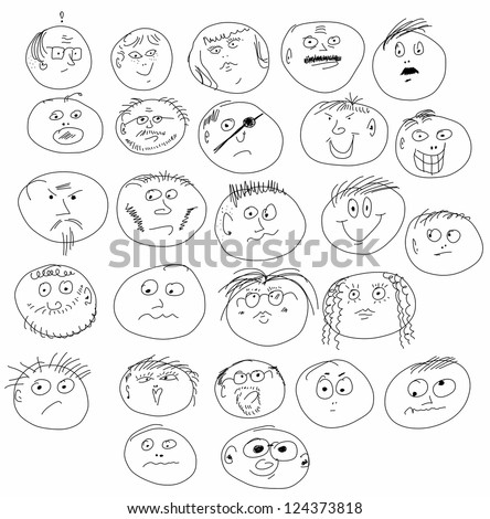 Illustration of doodle smile face icons