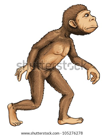 Illustration of early man from evolution series