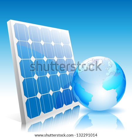 Illustration of Earth and solar panels.