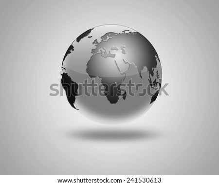 illustration of Earth isolated on light background. abstract black image of planet earth.