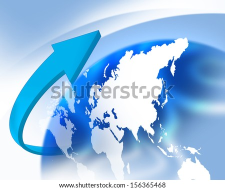 Illustration of earth with blue arrow - stock photo