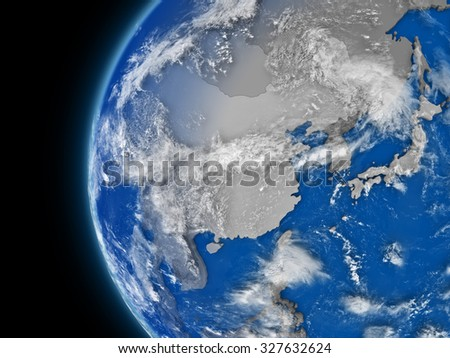 Illustration of east Asia region on political globe with atmospheric features and clouds