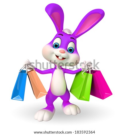 Illustration of Easter Bunny with shopping bags - stock photo