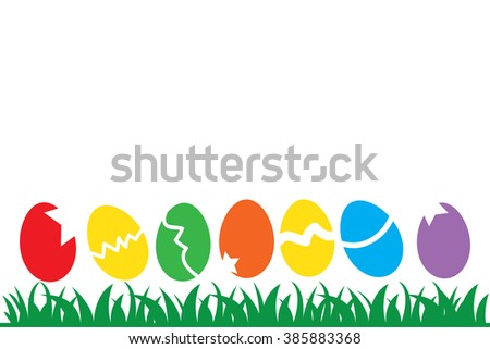 Illustration of Easter Eggs and green grass