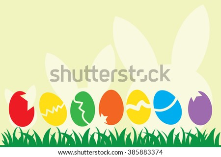 Illustration of Easter Eggs and rabbit silhouette