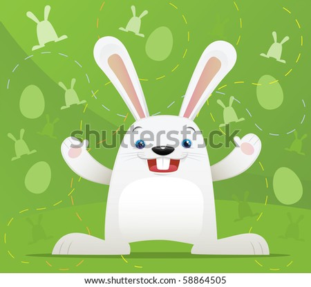 Illustration of Easter Rabbit with green background - stock photo
