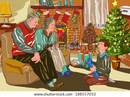 Illustration of elderly people sitting by a fireplace  - stock photo