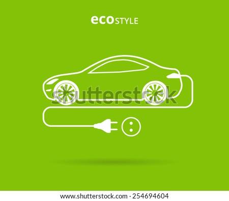 illustration of electro car green icon. - stock photo