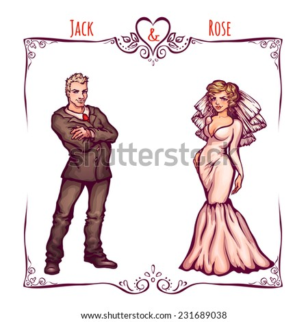 Illustration of elegant wedding invintantion with bride and groom. - stock photo