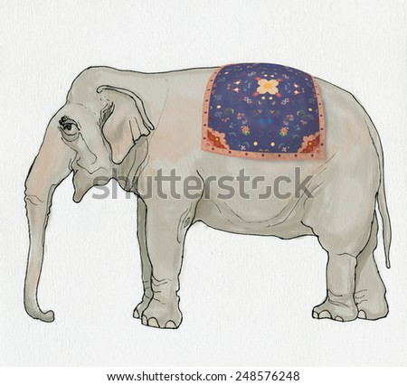 Illustration of elephant with Persian carpet on his back. Handmade ink drawing on watercolor paper. - stock photo