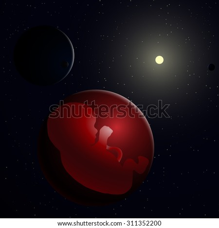 illustration of embryo, germ design, baby, fetus concept, nucleus, life, embryo in space, sun and planet, universe, logo - stock photo