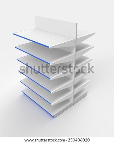 Illustration of empty supermarket shelves - stock photo