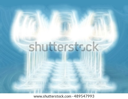 Illustration of empty wineglasses on a row