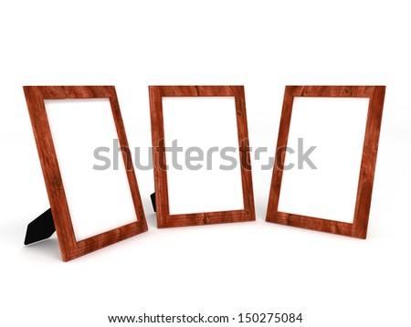 illustration of empty wooden frameworks for photos on white - stock photo