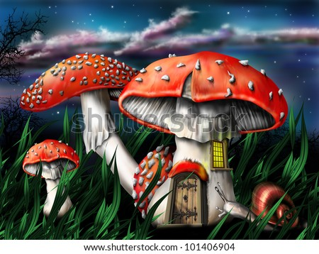 Illustration of enchanted magical mushrooms in the forest - stock photo